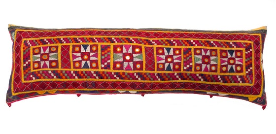 Image of Vintage Indian Bolster with Tangier Sunburst Multi Back