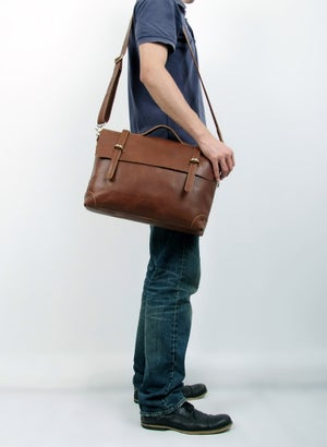 "Image of Handmade Genuine Leather Briefcase / Messenger / 14"" Laptop 13"" MacBook Bag (n3610)"