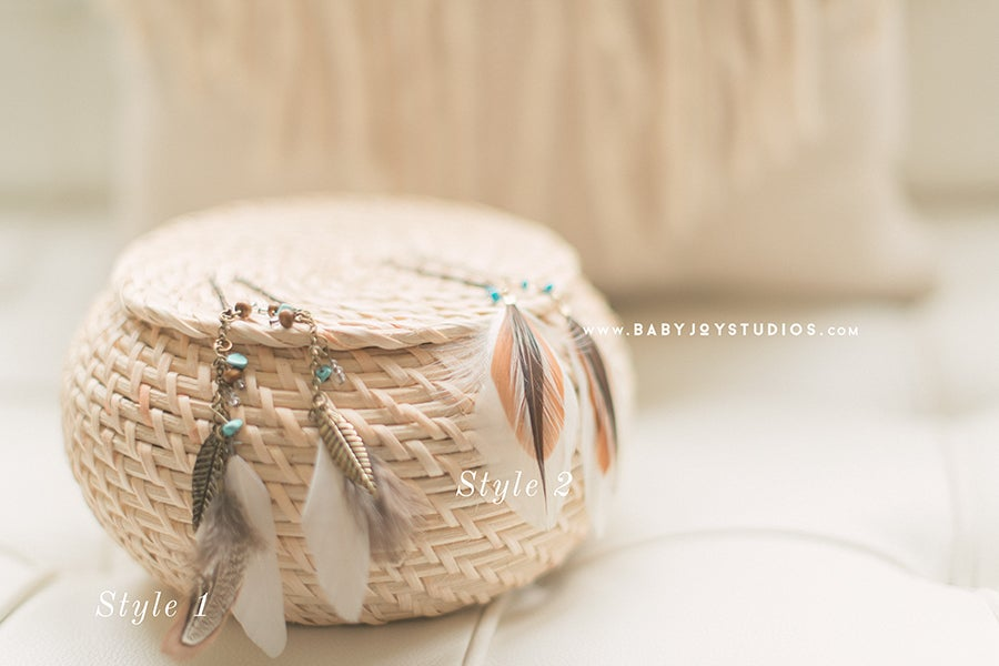 Image of Boho Feather Hair Pin , Clip   {the Chic}