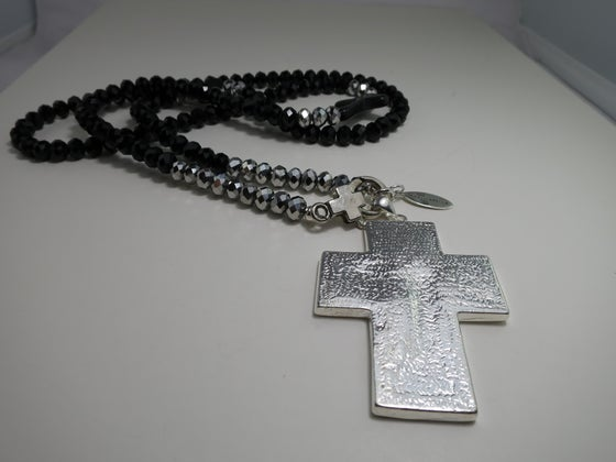 Image of N014 Long black necklace with silver cross