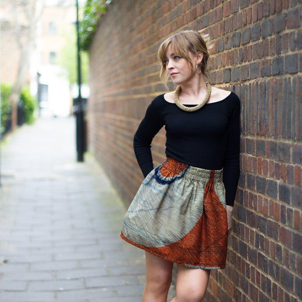 Image of 'Fine line' 100% cotton skirt for women