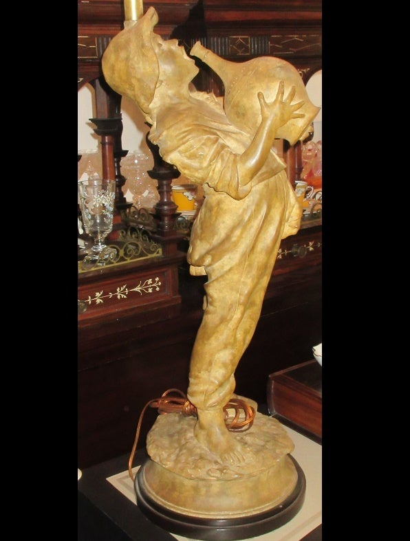 Image of Huge Antique Terracotta Figure Now A Designer Lamp G Barbelli