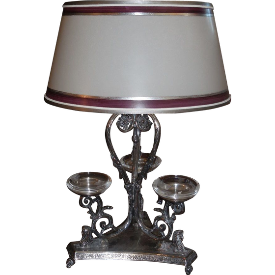 Image of Antique Designer Lamp w James Deakin Silver Epergne Base w Sphinx Tripod Stand