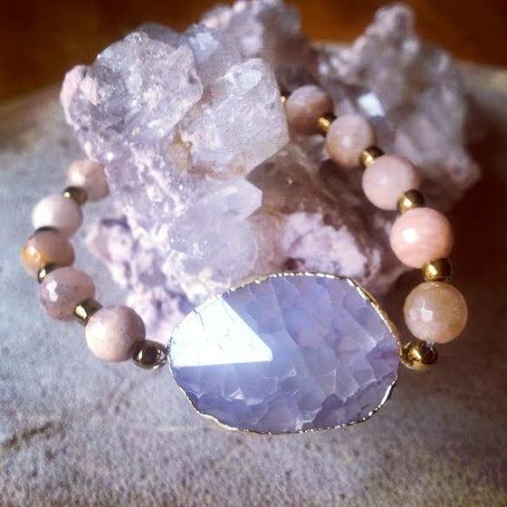 Image of Embracing your Authenticity <3 Diamond Cut Gold Foiled Agate and Sunstone Bracelet