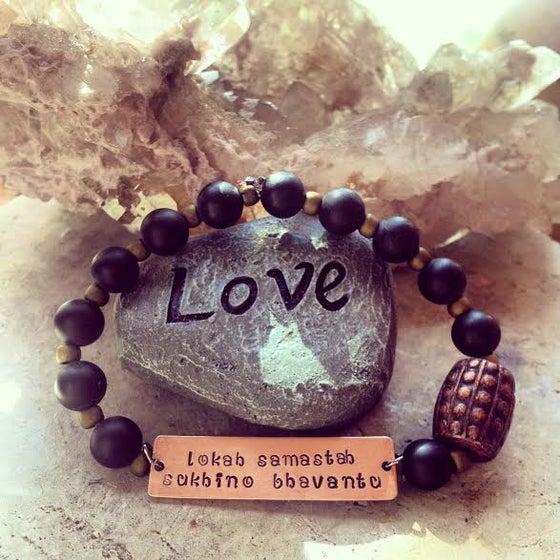 Image of Lokah Samastah Sukhino Bvantu Healing <3 Matte Onyx and Copper Antique Bead Bracelet