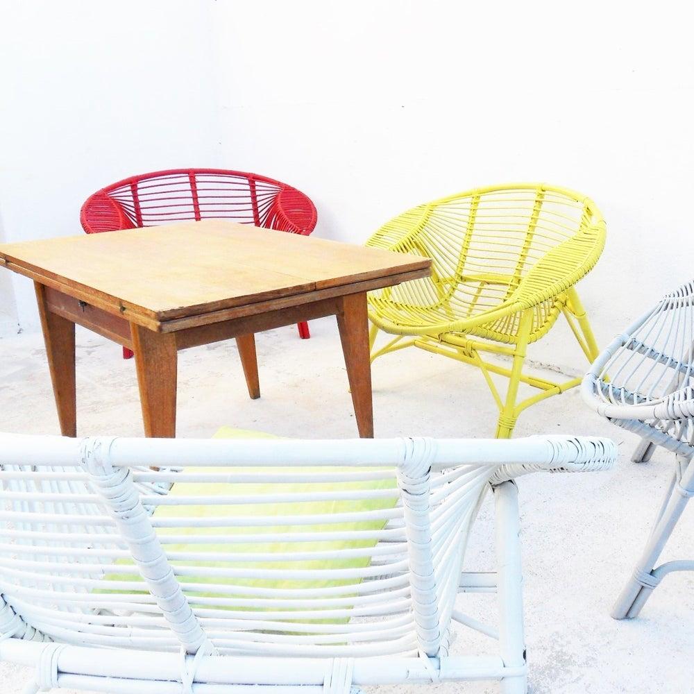 Fauteuil Rotin Design Vintage Fibresendeco Vannerie Artisanale Mobilier Vintage