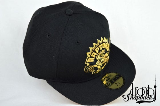 Image of TORONTO RAPTORS CUSTOM BLACK/GOLD NEW ERA 5950 FITTED CAP