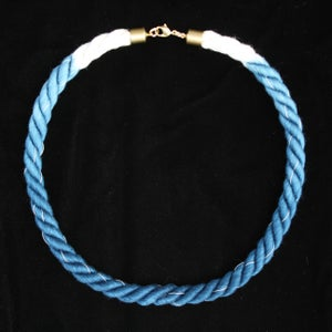 Image of Brass Blue White Thread Necklace Ombre