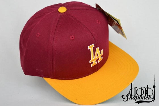 Image of LOS ANGELES DODGER BURGUNDY/YELLOW AMERICAN NEEDLE SNAPBACK CAP