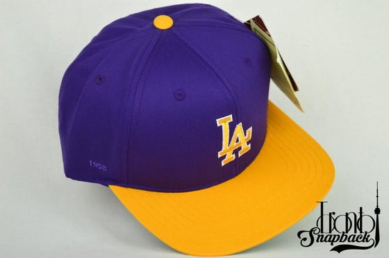 Image of LOS ANGELES DODGERS PURPLE/YELLOW AMERICAN NEEDLE SNAPBACK CAP