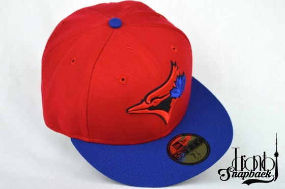 Image of TORONTO BLUE  JAYS CUSTOM RED/BLU/BLK NEW ERA 5950 FITTED HATY FITTED HAT