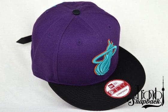 Image of MIAMI HEATS PUR/BLK/TEL/ORG NEW ERA 9FIFTY STRAPBACK HAT