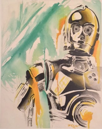 "Image of ""C-3PO"" Star Wars Watercolor Series"