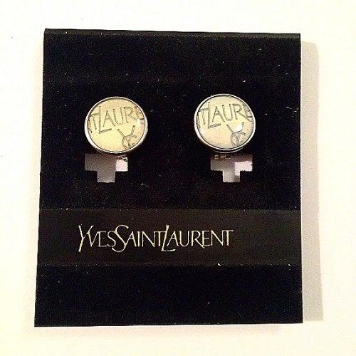 Image of Yves Saint Laurent Earrings - Authentic YSL 1990' s Vintage Logo Earrings