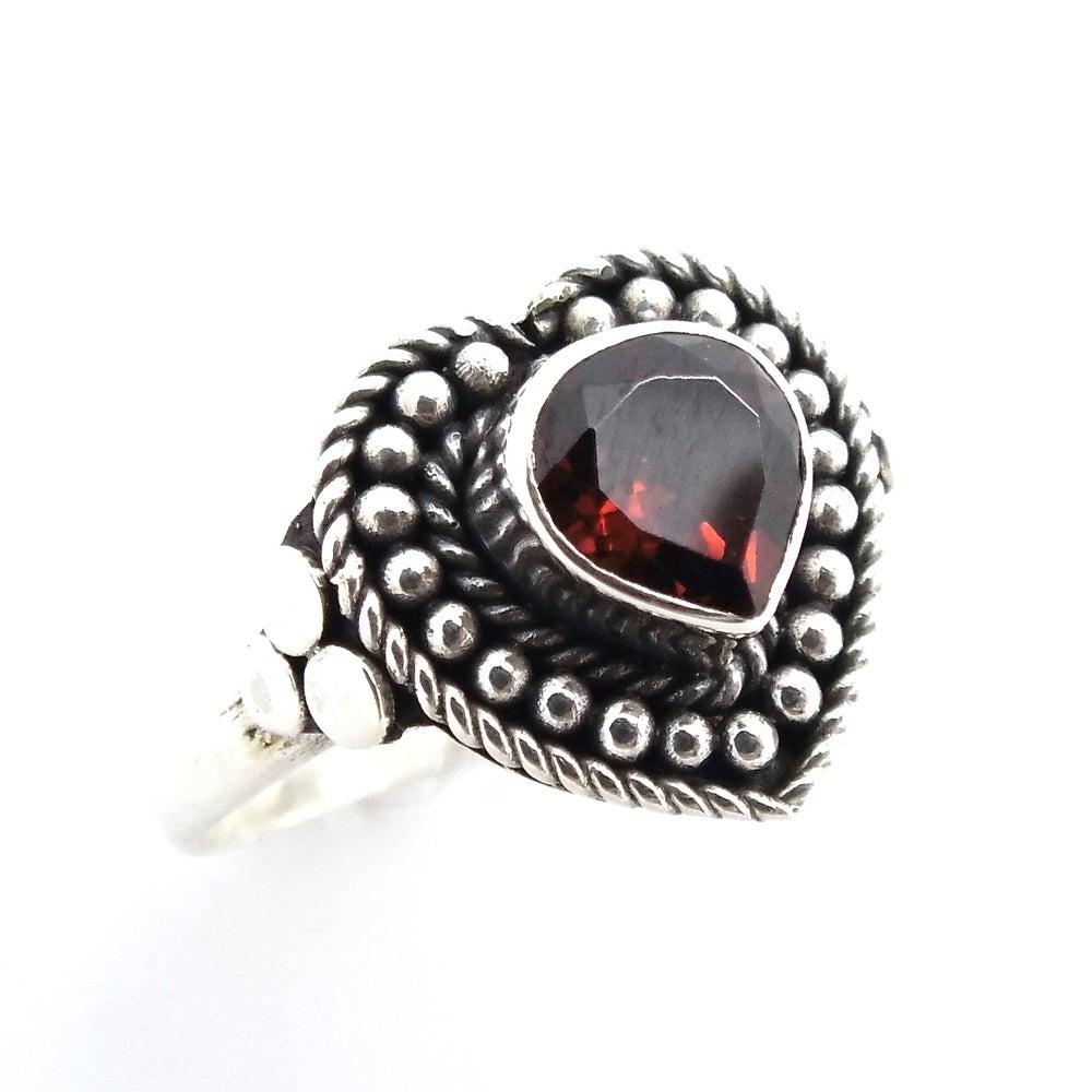 Image of Sterling Silver Garnet Love Spell Ring