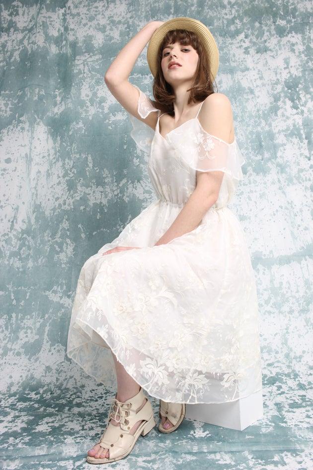 Image of Boho Bridal Lace Ivory Dress - Shoulder Sleeve - Handmade by Vivat Veritas