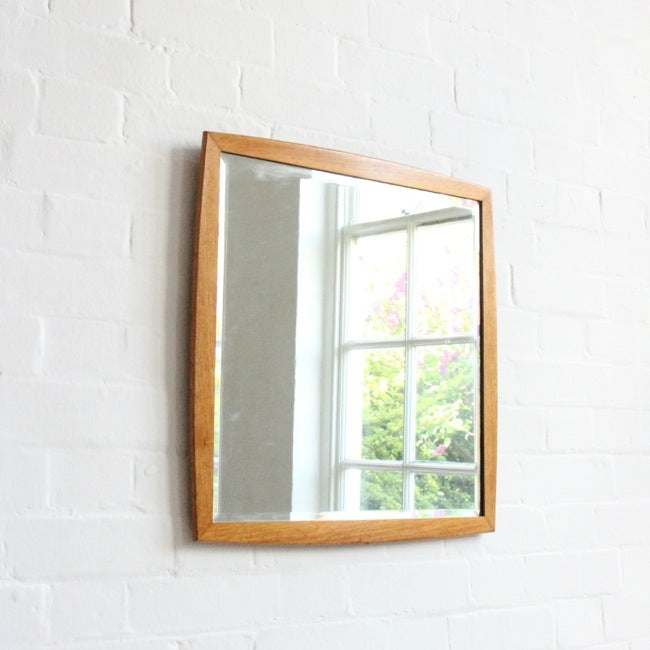 Image of Mid-century wooden mirror