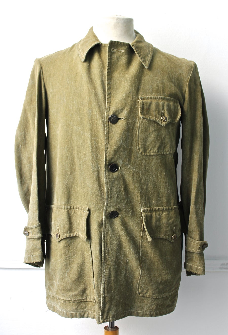 Image of 1920's FRENCH HUNTING KAKI LINEN JACKET