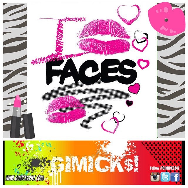 """Image of """"I KISS FACES"""" White/Pink T-shirt"""