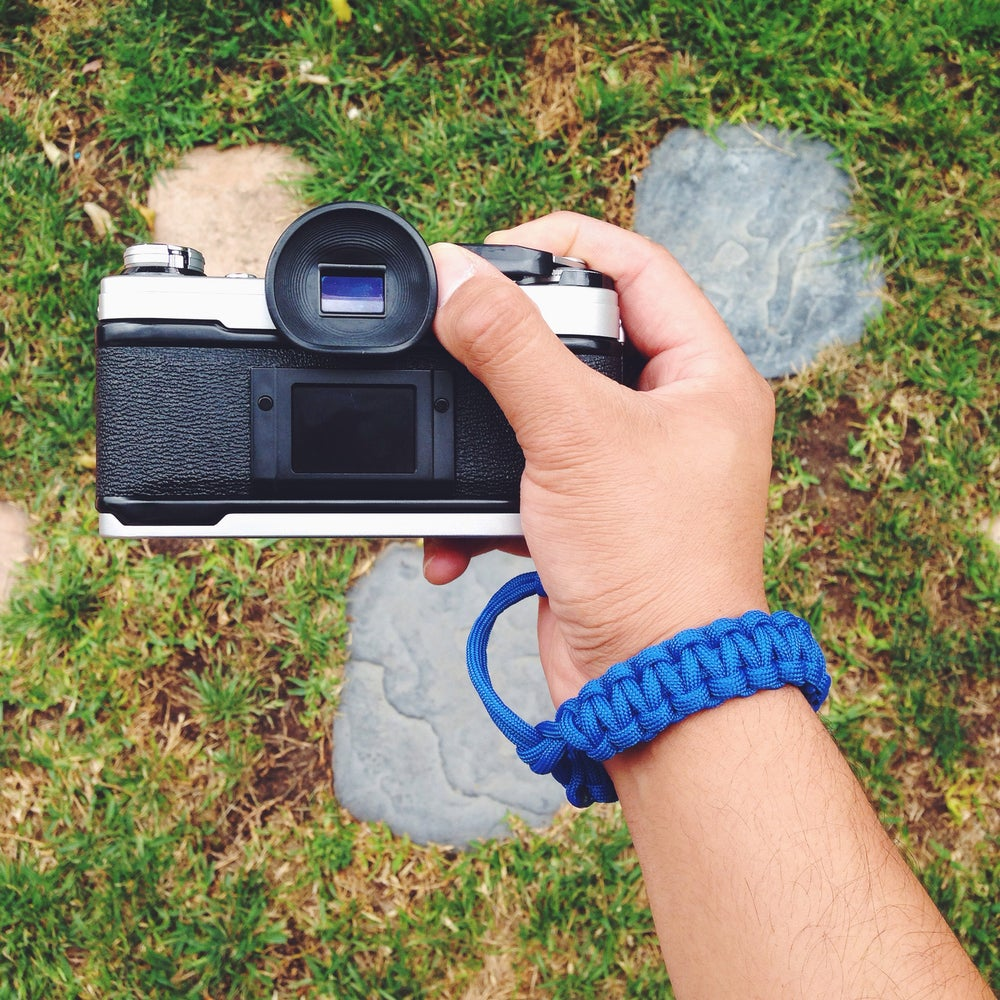 Image of Royal blue adjustable camera wrist strap