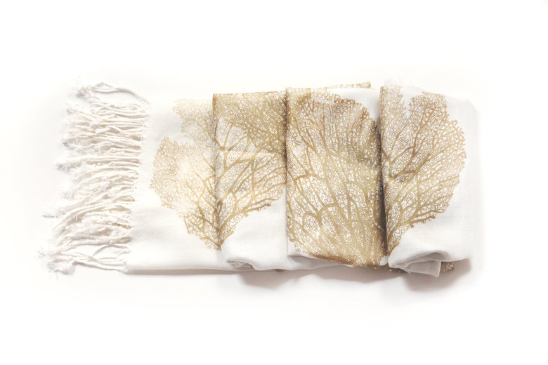 Image of Gold Silk Blend Seafan Scarf