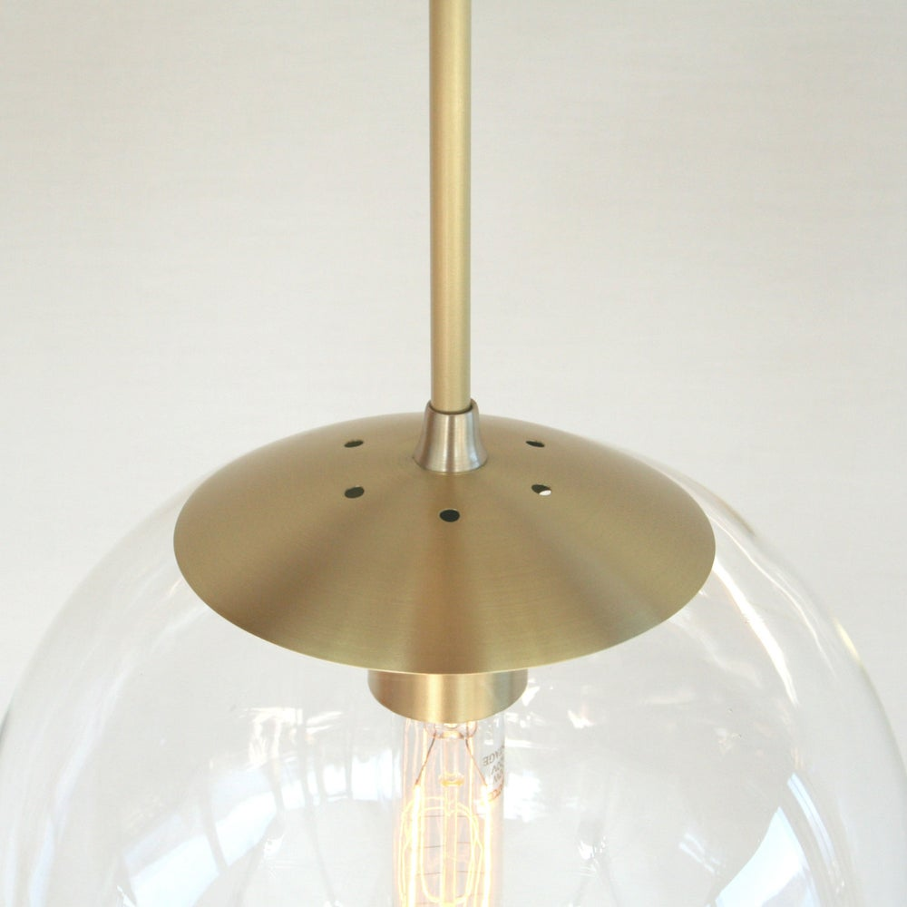 Orbiter 10 pendant light with brass stem mid century for Mid century modern globe pendant light