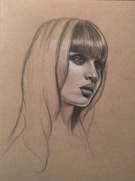 Image of Portrait Study of Woman - 9x12 Drawing