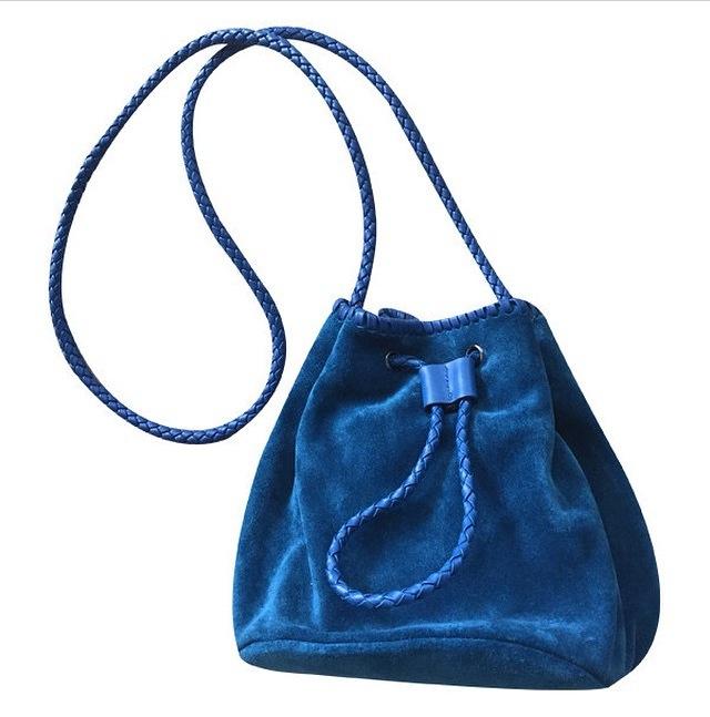 Image of Sapphire Suede Bucket Bag