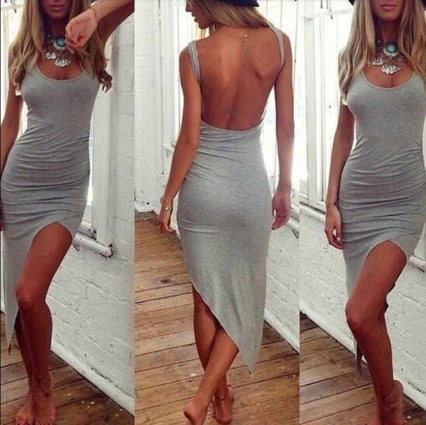 Image of CUTE GREY SEXY VEST DRESS