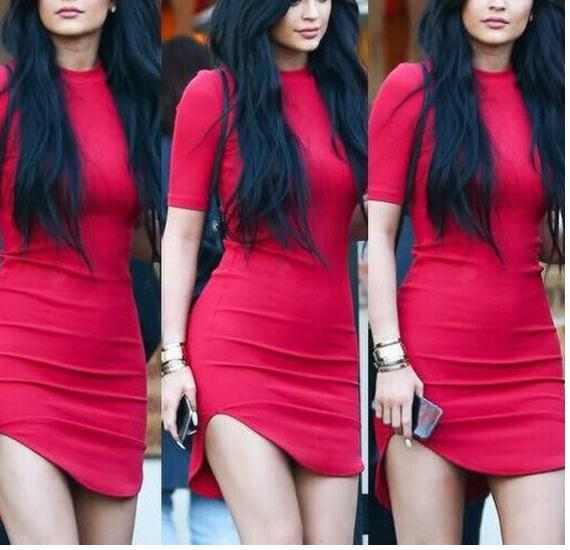 Image of HOT PURE COLOR SHOW BODY RED DRESS HIGH QUALITY