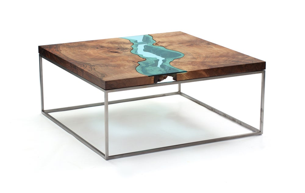 Image of square walnut river coffee table