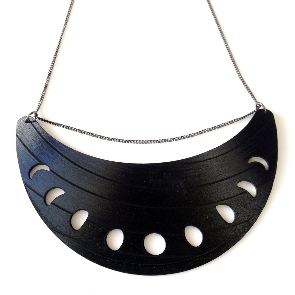 Image of Moon Phases Recycled Record Necklace