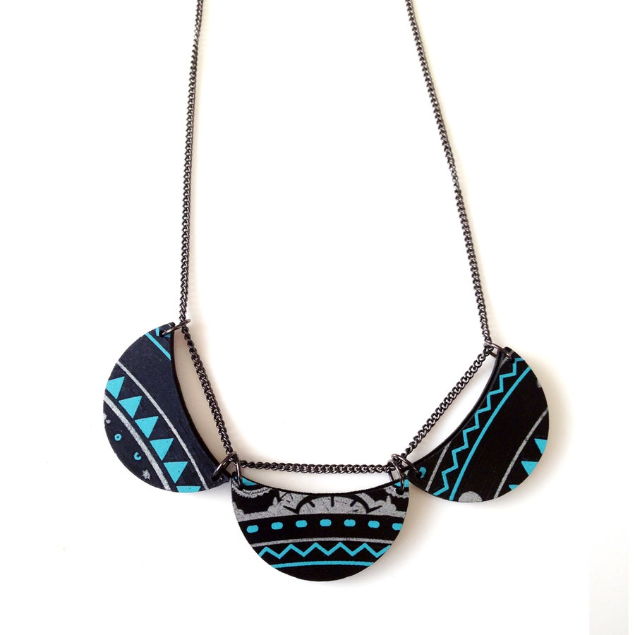 Image of Recycled Record 3 moon necklace with print