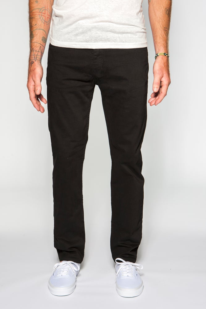 Image of Garment-dyed Italian twill in black slim fit