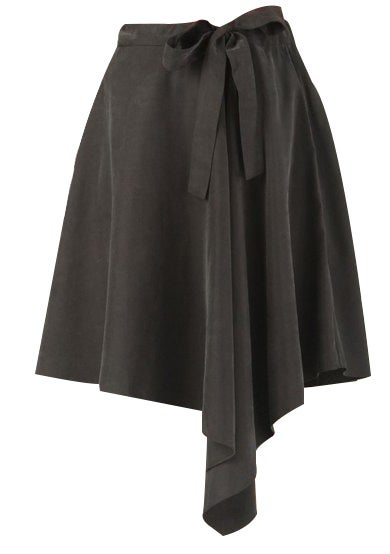 Image of Tulip flare skirt with bow tie and asymmetric hemline