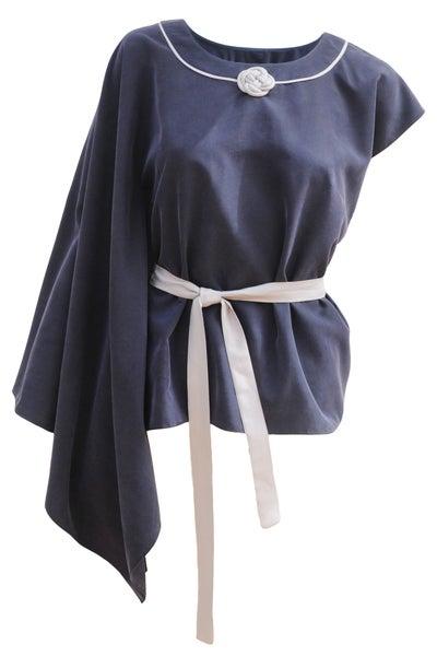 Image of Kaori blouse, asymmetric sleeves blouse.