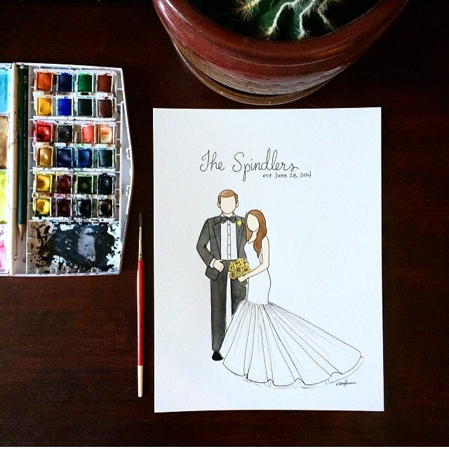 Image of Custom watercolor portrait - Wedding/Anniversary