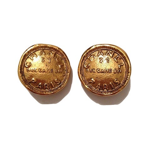 Image of SOLD OUT Chanel Earrings - Authentic Signed Chanel Paris 31 Rue Cambon Coin Style Earrings