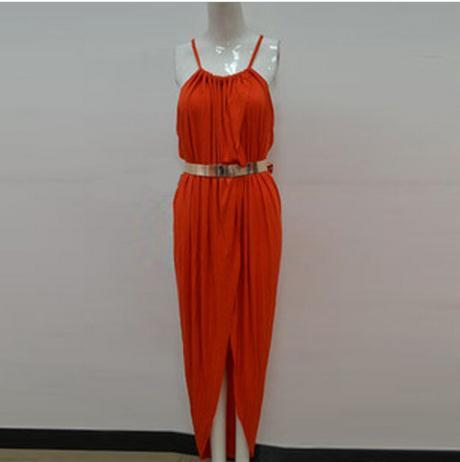 Image of SEXY CUTE DESIGN PURE COLOR DRESS WITH BELT