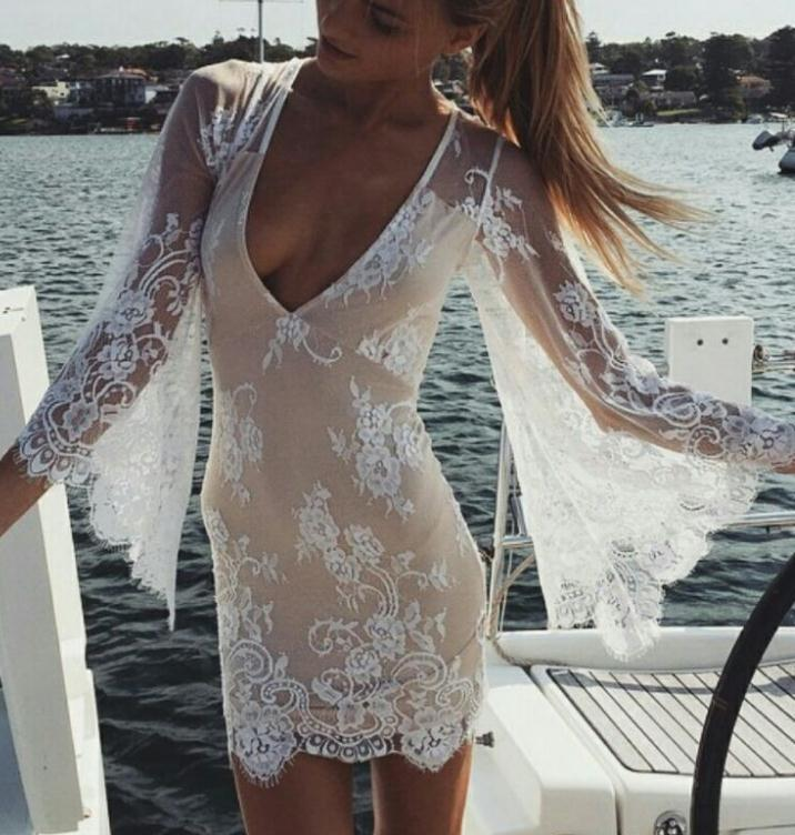 Image of CUTE DEEP V LONG SLEEVE LACE DRESS