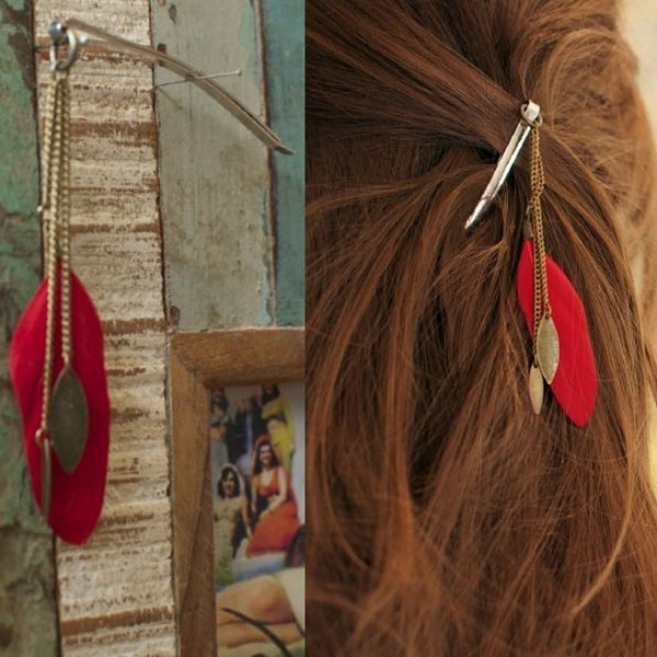 Image of Barrette hippie Rouge