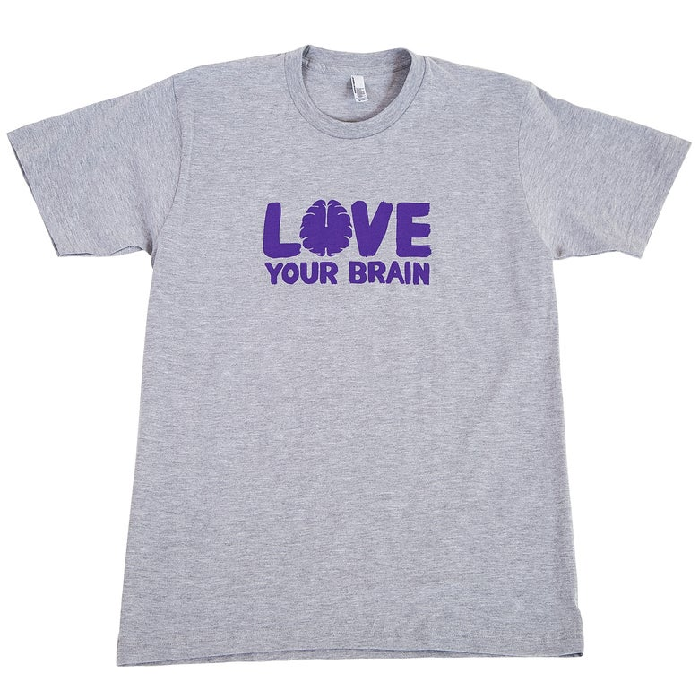 Image of Love Your Brain T-Shirt: Adult, Heather Gray with Purple LYB logo