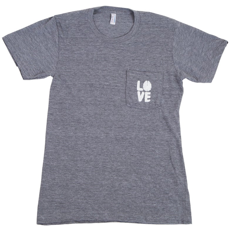 Image of Love Your Brain T-Shirt: Adult, Heather Gray Pocket T with White Logo