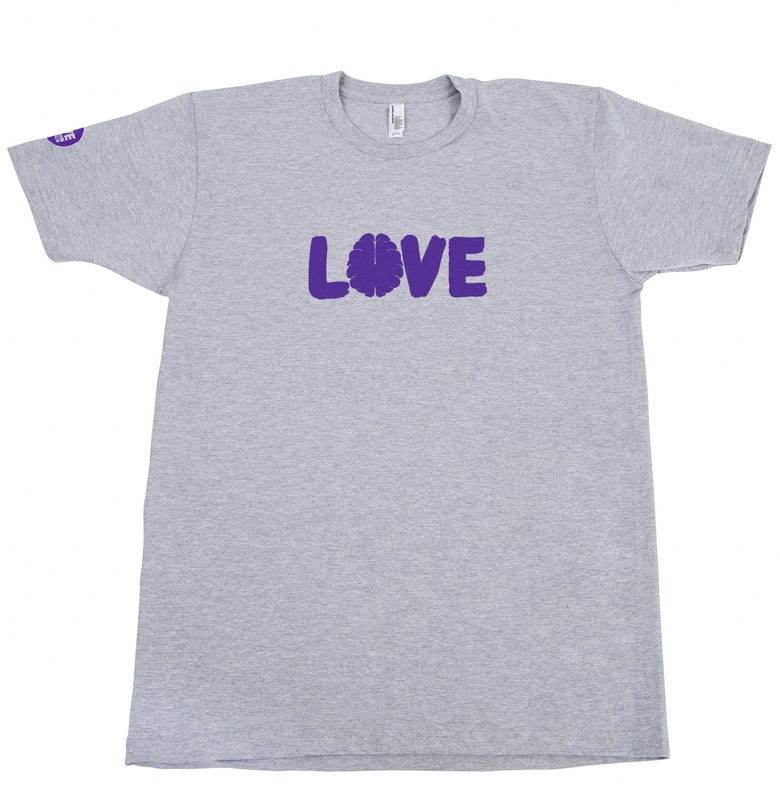 Image of Love Your Brain T-Shirt: Adult, Heather Gray with Purple Logo