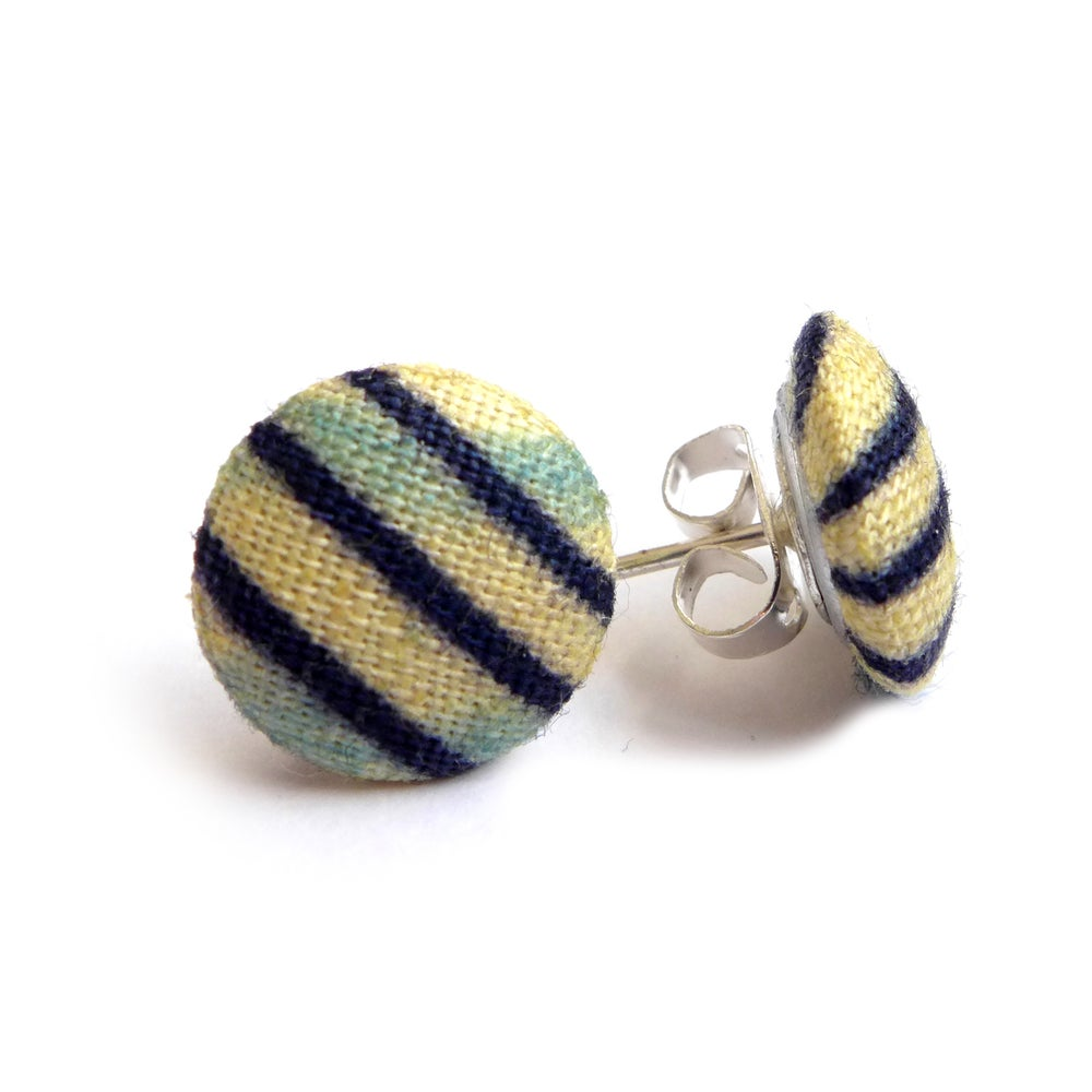 Image of Small Navy stripe african wax fabric covered earrings
