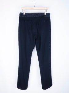 Image of Helmut Lang - Satin Waistband Tropical Wool Pants