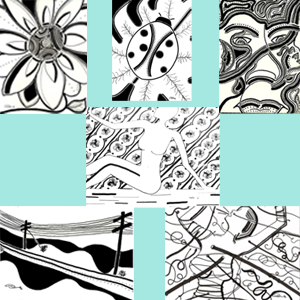 """Image of Ink Drawings (7"""" x 5"""" in 10"""" x 8"""" frame)"""