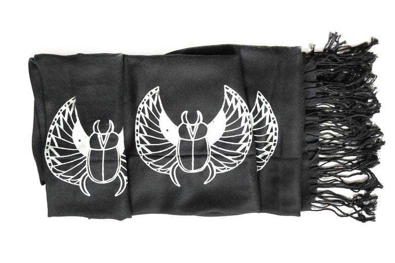 Image of Egyptain Scarab Scarf  Black/Off-White