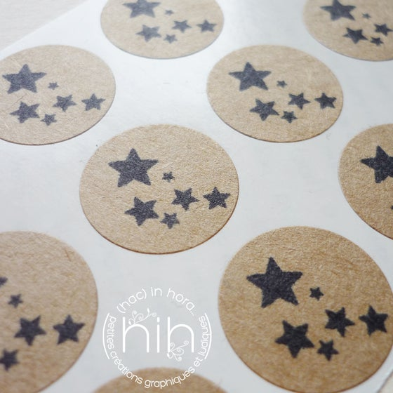 Image of petit stickers #kraft# nuée d'étoiles