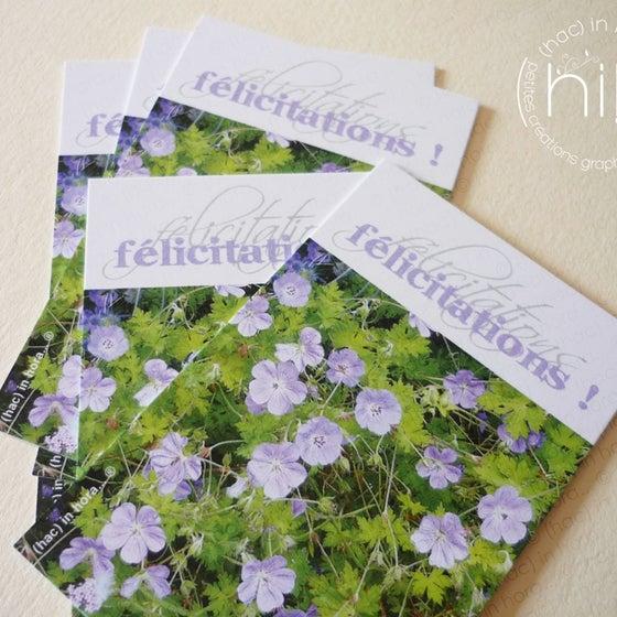 Image of petites cartes ✿flora✿ félicitations! géranium